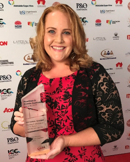 Melinda McCrone, Marketing Manager, Crowne Plaza Terrigal Pacific with the award.