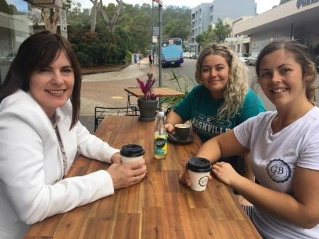 Lucy Wicks enjoys a coffee at Good Bits Co with Lydia and Rebekah Tate.