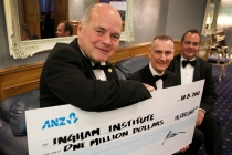 Terry Goldacre, chairman, Ingham Institute, and fellow directors John Hexton and John Ingham. Mr Hexton presented Mr Goldacre with a cheque for $1 million, on behalf of owner, Bob Ingham.