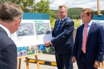 State Planning Minister Anthony Roberts pointing out features of the new Tuggerah Town Centre project. Right is Taylor Martin, MLC.