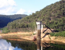 This a photo of the tower at Mangrove Creek Dam was taken at the peak of the drought in May 2007. Central Coast Council wants to prevent a similar water shortage in the region.
